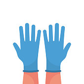 Hands putting on protective blue gloves vector