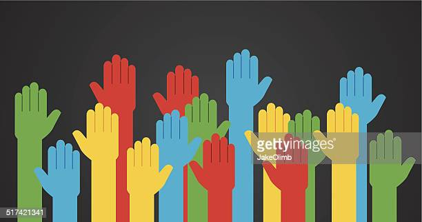 hands raised colored - respect stock illustrations
