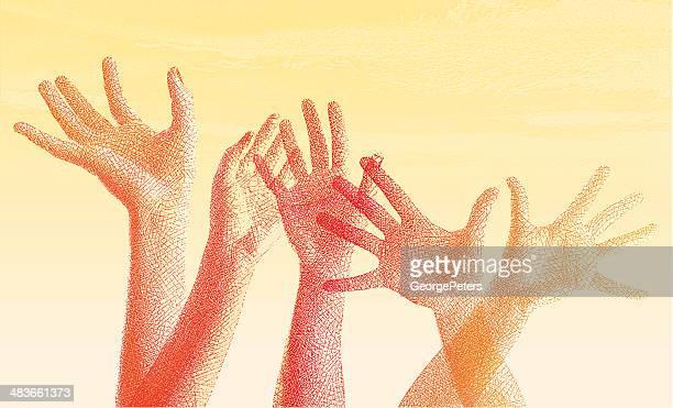 ilustraciones, imágenes clip art, dibujos animados e iconos de stock de manos de grabado - diversidad cultural