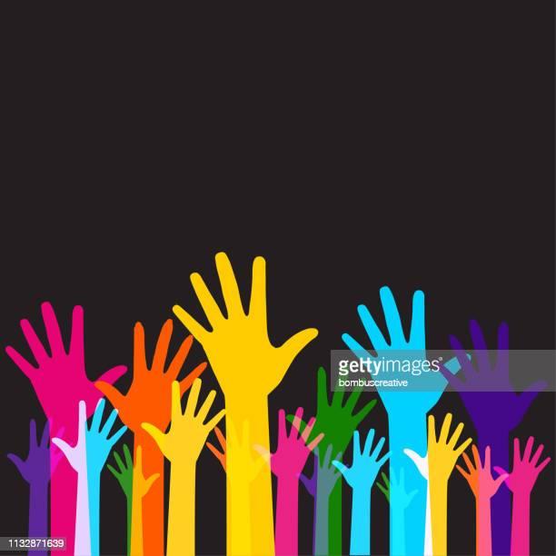 ilustraciones, imágenes clip art, dibujos animados e iconos de stock de manos elevadas - derechos humanos
