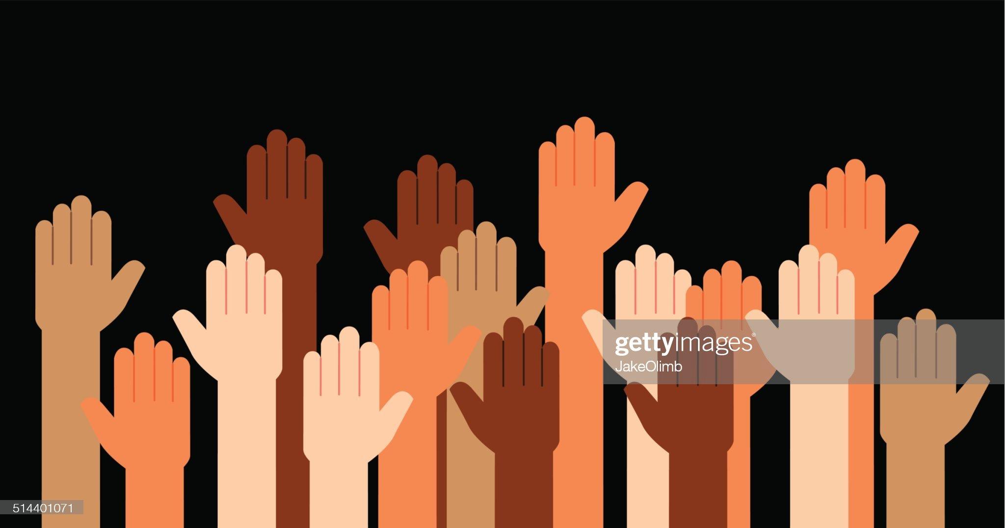 Hands Raised Multi Racial : 插圖檔
