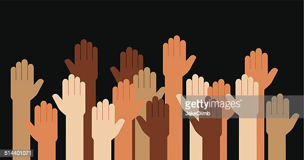 hands raised multi racial - diversity stock illustrations