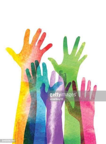 hands raised - democracy stock illustrations