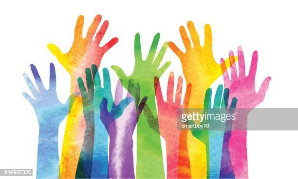 hands raised - social issues stock illustrations