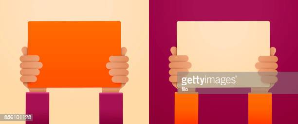 hands raised with blank signs - holding stock illustrations, clip art, cartoons, & icons