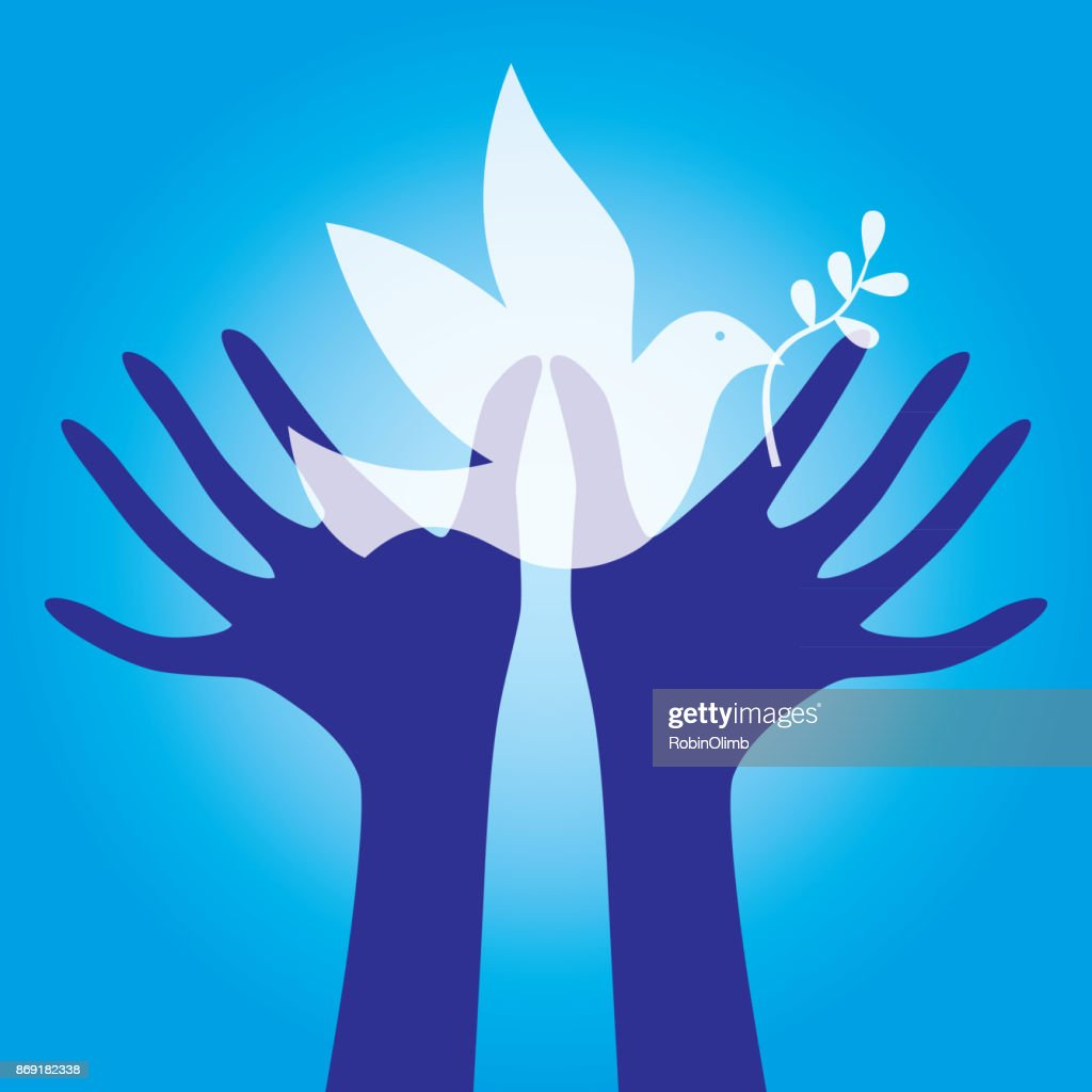 Hands Reaching For Peace Dove : Stock Illustration