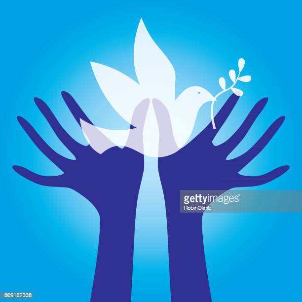hands reaching for peace dove - symbols of peace stock illustrations