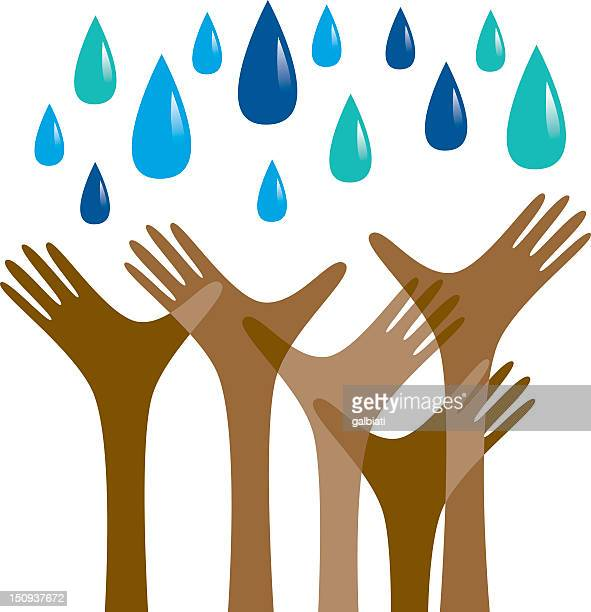 hands reaching out for rain - drought stock illustrations
