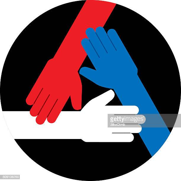 hands red white and blue icon - local politics stock illustrations