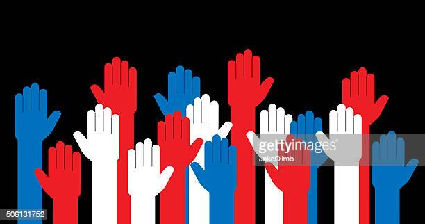 stockillustraties, clipart, cartoons en iconen met hands red white and blue raised - overheid