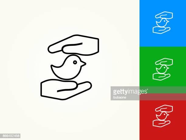 Hands Saving Bird Black Stroke Linear Icon