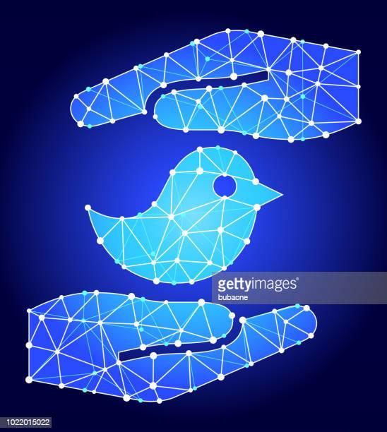 Hands Saving Bird Blue Triangle Node Vector Pattern