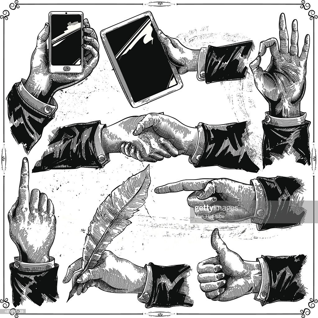 Hands set : stock illustration
