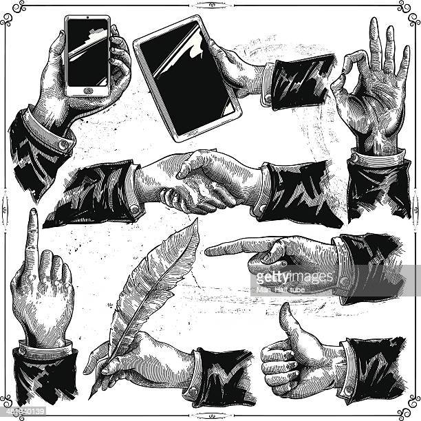 hands set - woodcut stock illustrations