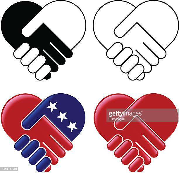 hands shaking heart - us republican party stock illustrations, clip art, cartoons, & icons