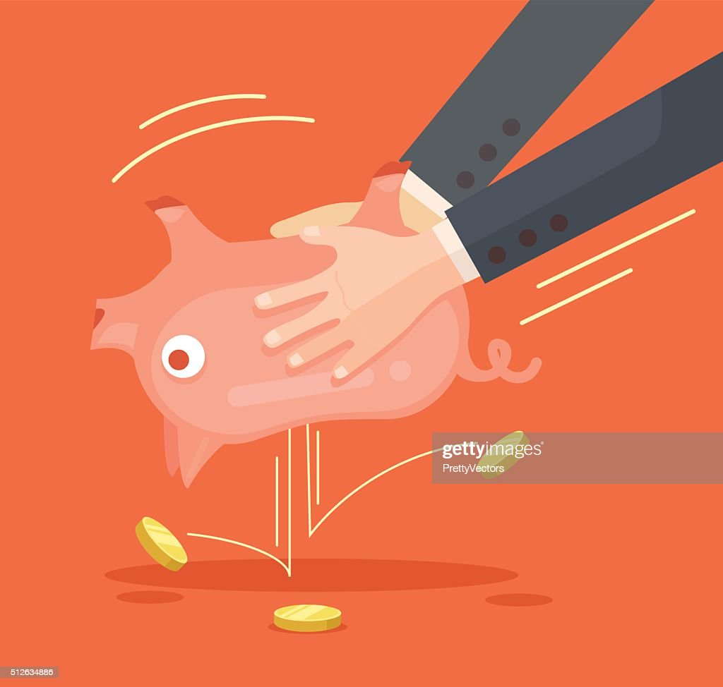 Hands shaking piggy bank. Vector flat illustration