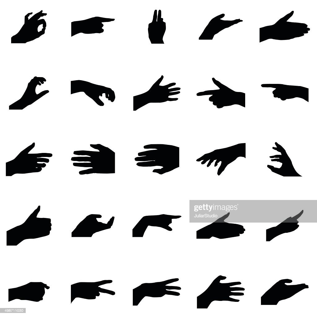 Hands silhouettes set