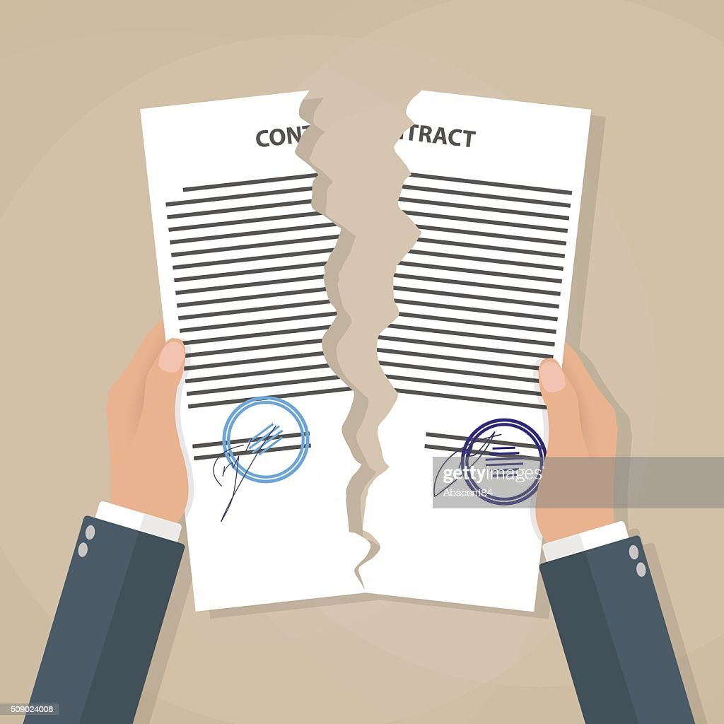 Hands tearing apart contract