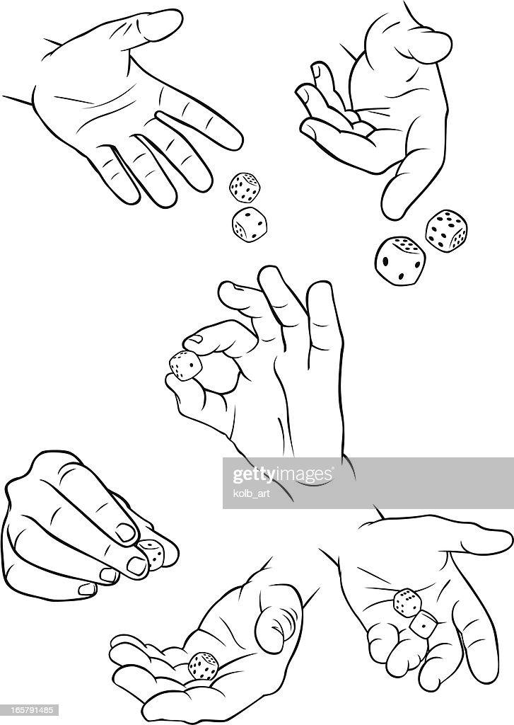 Hands throwing dice