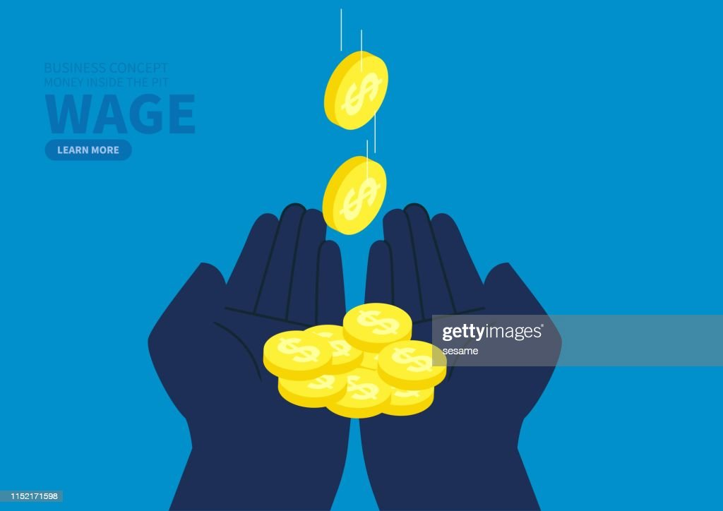 Hands to catch falling coins : stock illustration