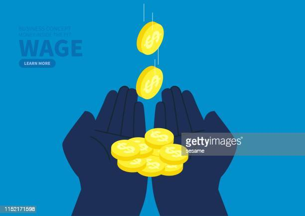 hands to catch falling coins - cash flow stock illustrations, clip art, cartoons, & icons