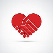 Hands together. Heart symbol. Vector illustration