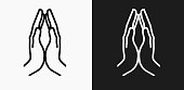 Hands Together Icon on Black and White Vector Backgrounds