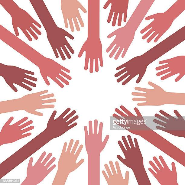 hands together - equal opportunity stock illustrations, clip art, cartoons, & icons