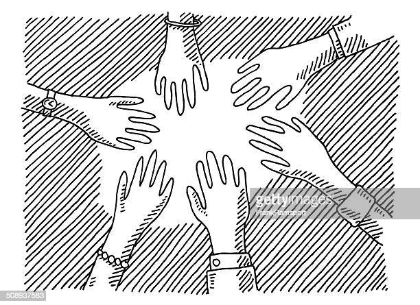 Hands Togetherness Concept Drawing