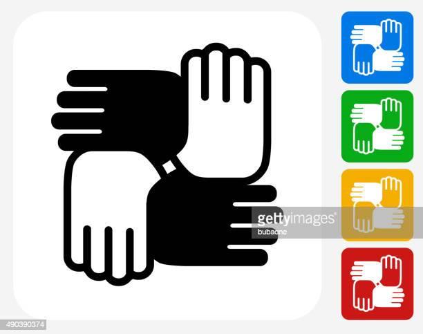 ilustrações de stock, clip art, desenhos animados e ícones de mãos unidas ícone flat design gráfico - direitos humanos