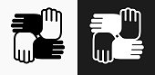 Hands United Icon on Black and White Vector Backgrounds