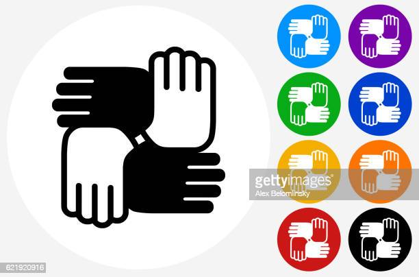 Hands United Icon on Flat Color Circle Buttons