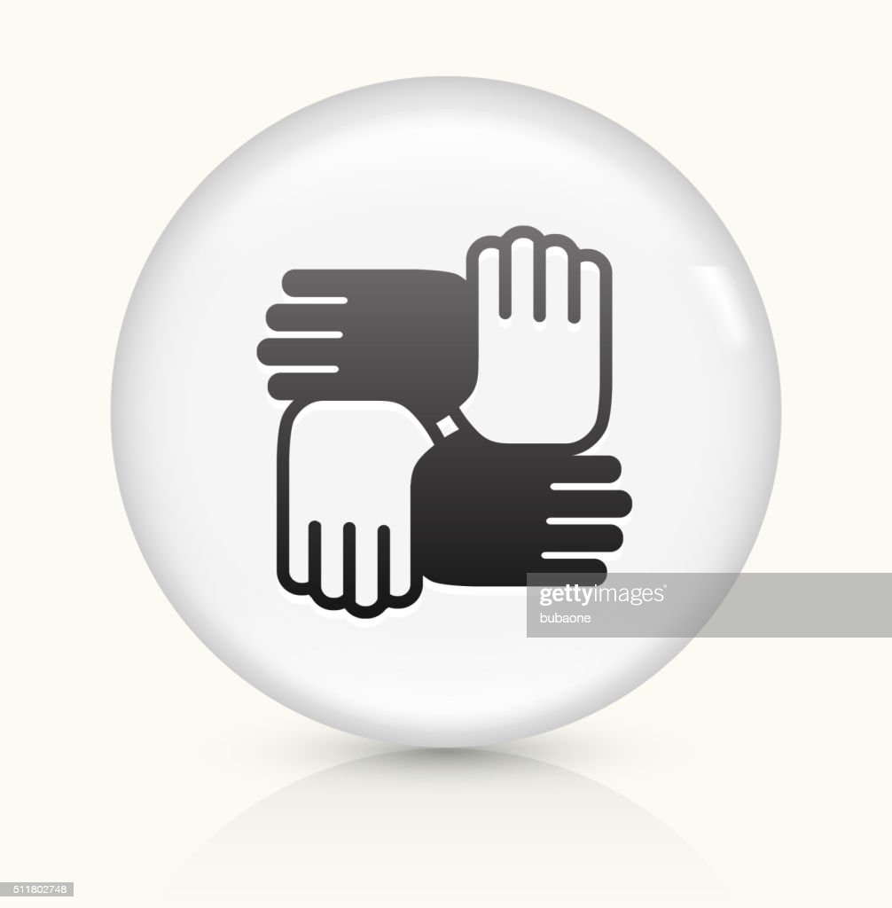 Hands United icon on white round vector button