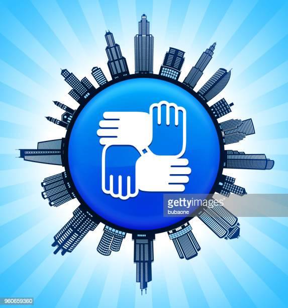hände, die auf modernen stadtbild skyline hintergrund vereint - gewerbeimmobilie stock-grafiken, -clipart, -cartoons und -symbole