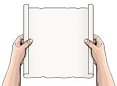 Hands Unrolling a Document or Scroll