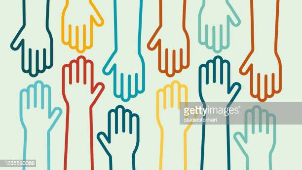 hands up colorful icon vector design - community outreach stock illustrations