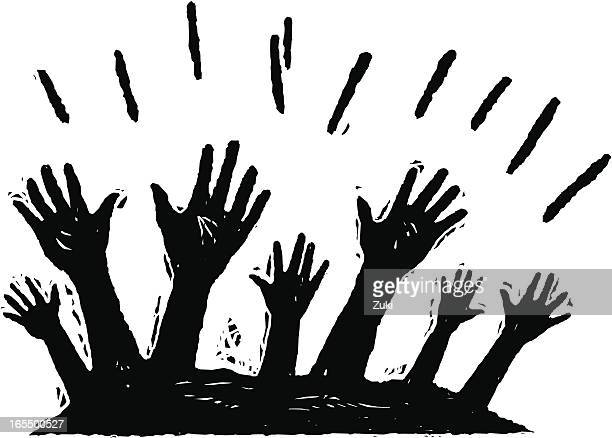 hands up - woodcut stock illustrations
