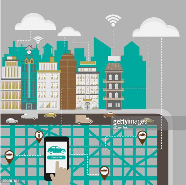 hands using a smartphone in a smart city concept. - commuter stock illustrations, clip art, cartoons, & icons