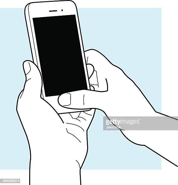 hands using smartphone line art - thumb stock illustrations