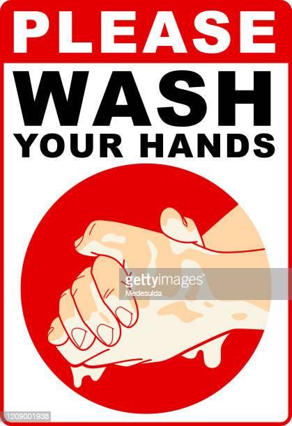 hands wash coronavirus - sign stock illustrations
