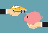 Hands with car and money. Exchanging concept. Flat design style. Vector illustration.