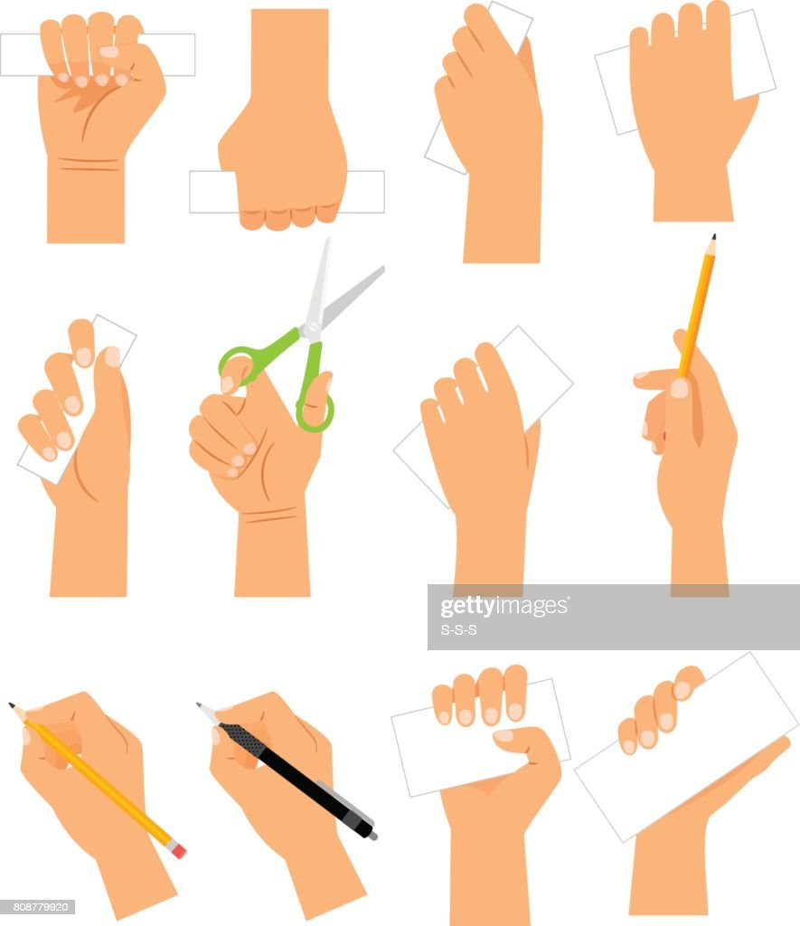 Hands with cards, pencil and scissirs