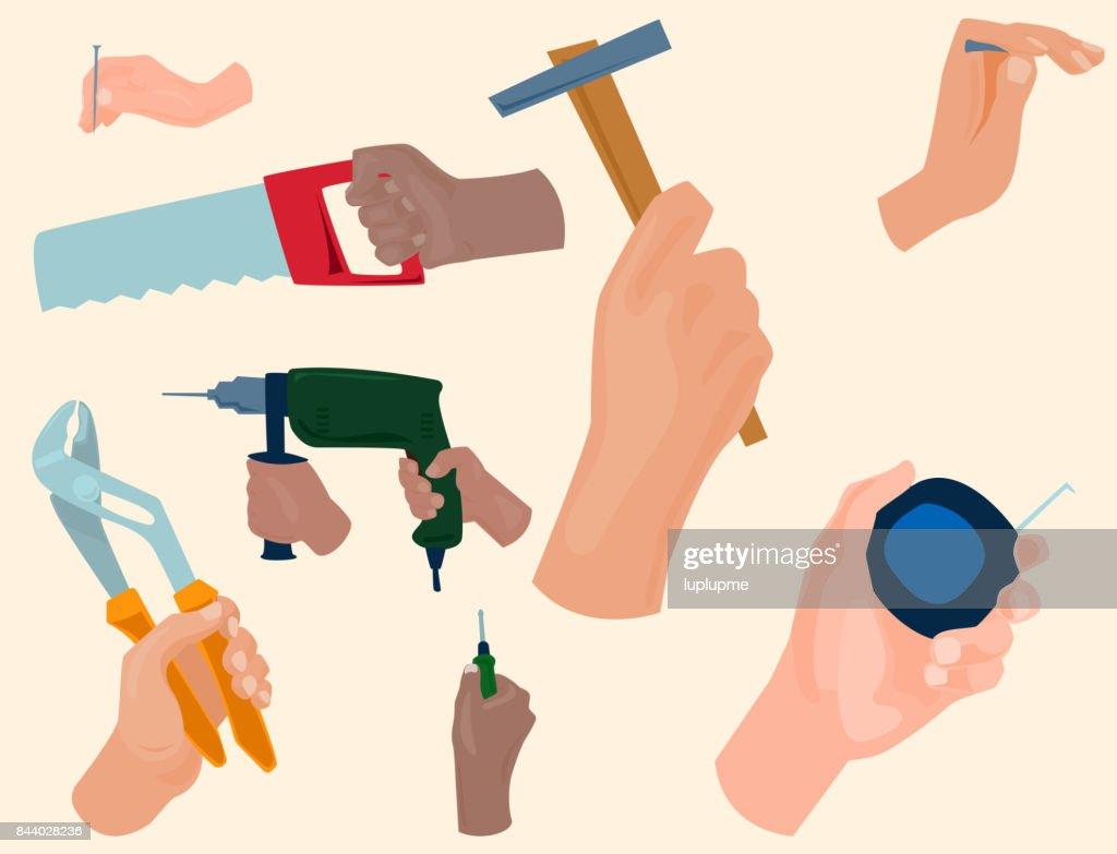 Hände Mit Bau Tools Vektor Cartoon Stil Haus Renovierung Handwerker  Abbildung : Vektorgrafik