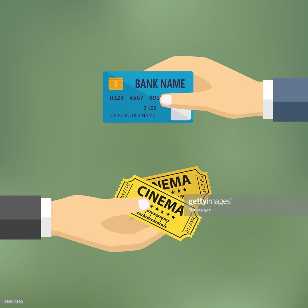 Hands with credit card and cinema tickets.