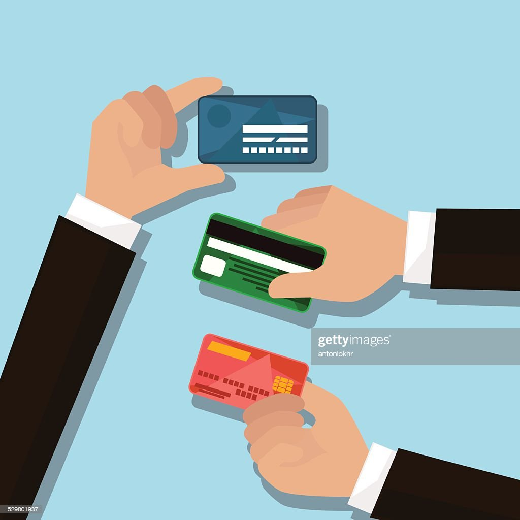 hands with credit cards