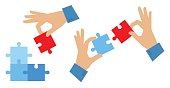 Hands with elements of puzzle. Teamwork and problem solution concept.