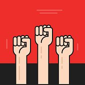 Hands with fists raised up vector, symbol of protest, revolution