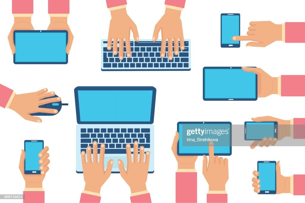 hands with gadgets