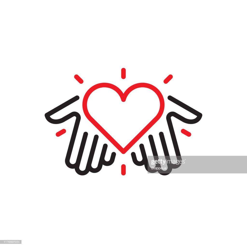 Mains avec le logo de coeur : Illustration