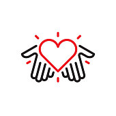 Hands with heart logo